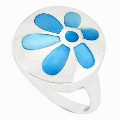 Blue pearl enamel 925 sterling silver ring jewelry size 7.5 a49456 c13531