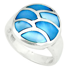 Blue pearl enamel 925 sterling silver ring jewelry size 6 a49495 c13308