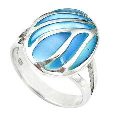 Blue pearl enamel 925 sterling silver ring jewelry size 6 c12867