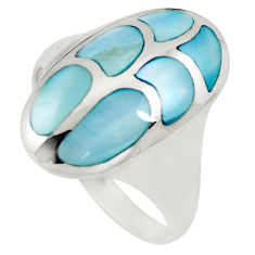 6.02gms blue pearl enamel 925 sterling silver ring jewelry size 8 c12873