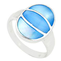 Blue pearl enamel 925 sterling silver ring jewelry size 8 c21983