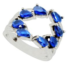 4.29cts blue sapphire (lab) 925 sterling silver adjustable ring size 4.5 c9143