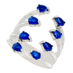 4.52cts blue sapphire (lab) 925 sterling silver adjustable ring size 5 c9059