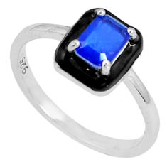 1.63cts blue sapphire (lab) enamel 925 silver solitaire ring size 7 c23601
