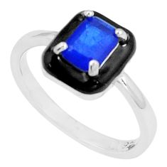 1.74cts blue sapphire (lab) enamel 925 silver solitaire ring size 7 c23613