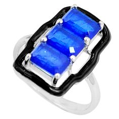 4.52cts blue sapphire (lab) enamel 925 silver solitaire ring size 9 c23607