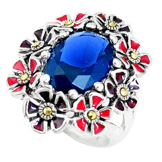 6.52cts blue sapphire (lab) enamel 925 sterling silver ring size 6 c16023