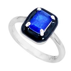 1.66cts blue sapphire (lab) enamel 925 sterling silver ring size 8 c19297