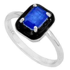 1.74cts blue sapphire (lab) enamel 925 sterling silver ring size 8 c20081