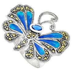 1.30cts blue sapphire (lab) marcasite 925 silver butterfly ring size 7.5 c16297