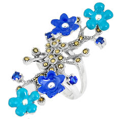 Blue sapphire (lab) marcasite enamel 925 silver flower ring size 6 c16178