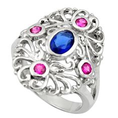 2.28cts blue sapphire (lab) ruby (lab) 925 sterling silver ring size 7 c10018