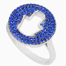 2.10cts blue sapphire (lab) silver hand of god hamsa ring size 9.5 a94564 c24895