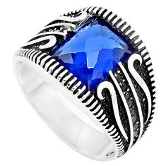 Blue sapphire quartz topaz 925 sterling silver mens ring size 9 c11462