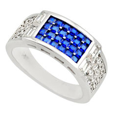 3.98cts blue sapphire (lab) topaz 925 sterling silver ring size 6.5 c9065