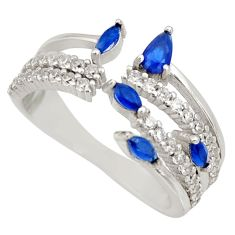 3.51cts blue sapphire (lab) topaz 925 sterling silver ring size 8.5 c9150