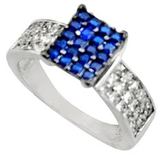 2.13cts blue sapphire (lab) topaz 925 sterling silver ring size 6.5 c9435