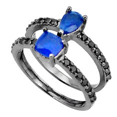 3.87cts blue sapphire (lab) topaz 925 sterling silver ring jewelry size 6 c19282