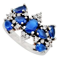 5.36cts blue sapphire (lab) topaz 925 sterling silver ring jewelry size 6 c9183