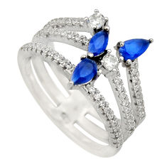 3.42cts blue sapphire (lab) topaz 925 sterling silver ring jewelry size 7 c9122