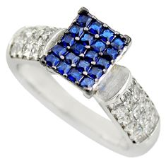 4.38cts blue sapphire (lab) topaz 925 sterling silver ring jewelry size 7 c9159