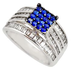 3.52cts blue sapphire (lab) topaz 925 sterling silver ring jewelry size 7 c9186