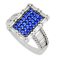 4.38cts blue sapphire (lab) topaz 925 sterling silver ring jewelry size 7 c9375