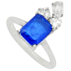 3.67cts blue sapphire (lab) topaz 925 sterling silver ring jewelry size 7 c9415