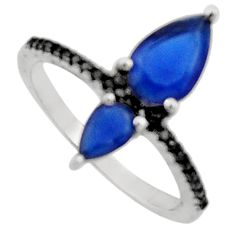 3.23cts blue sapphire (lab) topaz 925 sterling silver ring jewelry size 7 c9426