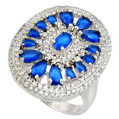 6.31cts blue sapphire (lab) topaz 925 sterling silver ring jewelry size 8 c10307