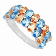 4.82cts blue sapphire (lab) topaz 925 sterling silver ring jewelry size 8 c9068