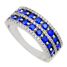 3.41cts blue sapphire (lab) topaz 925 sterling silver ring jewelry size 8 c9109