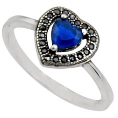 1.98cts blue sapphire (lab) topaz 925 sterling silver ring jewelry size 8 c9432