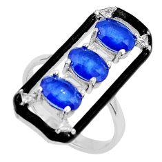 5.31cts blue sapphire (lab) topaz black enamel 925 silver ring size 6.5 c19359
