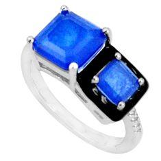 5.38cts blue sapphire (lab) topaz black enamel 925 silver ring size 7.5 c20095
