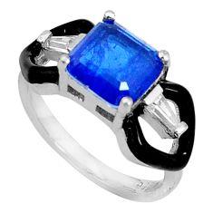 4.67cts blue sapphire (lab) topaz black enamel 925 silver ring size 6 c19350