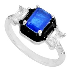 3.65cts blue sapphire (lab) topaz black enamel 925 silver ring size 7 c20091