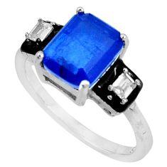 5.80cts blue sapphire (lab) topaz black enamel 925 silver ring size 9 c20083