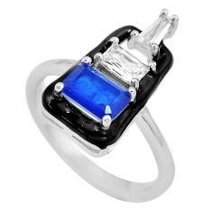 3.48cts blue sapphire (lab) topaz enamel 925 silver ring jewelry size 6 c23605