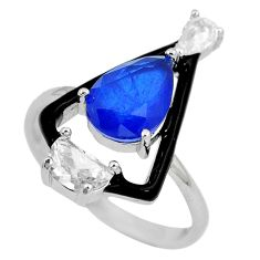 4.47cts blue sapphire (lab) topaz enamel 925 silver ring jewelry size 7 c23609