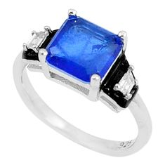3.59cts blue sapphire (lab) topaz enamel 925 silver solitaire ring size 6 c20497