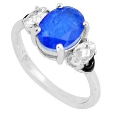 3.93cts blue sapphire (lab) topaz enamel 925 silver solitaire ring size 6 c23604