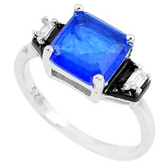 3.93cts blue sapphire (lab) topaz enamel 925 silver solitaire ring size 6 c23615