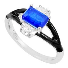 2.93cts blue sapphire (lab) topaz enamel 925 silver solitaire ring size 7 c23602