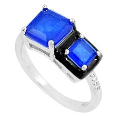 5.95cts blue sapphire (lab) topaz enamel 925 silver solitaire ring size 8 c23616
