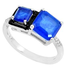 6.03cts blue sapphire (lab) topaz enamel 925 silver solitaire ring size 8 c23617