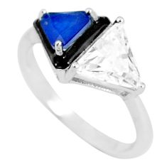 6.70cts blue sapphire (lab) topaz enamel 925 silver solitaire ring size 9 c23608