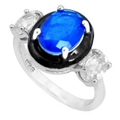 5.11cts blue sapphire (lab) topaz enamel 925 sterling silver ring size 6 c20087