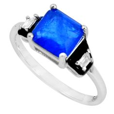 3.83cts blue sapphire (lab) topaz enamel 925 sterling silver ring size 9 c20089
