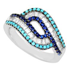 2.69cts blue sapphire (lab) turquoise 925 sterling silver ring size 6.5 c9153